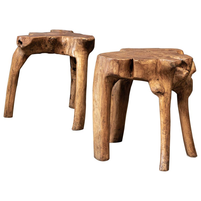 English Pair Primitive Teak Root Side End Tables For Sale
