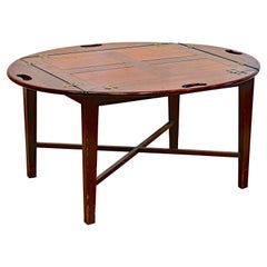 English Paneled Mahogany Oval Form Butler's Tray Coffee Table on Stand, 19th C
