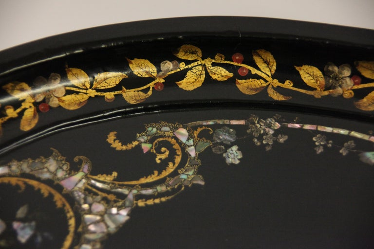 Mid-19th Century English Papier Mâché Black Lacquer Tray on Stand For Sale