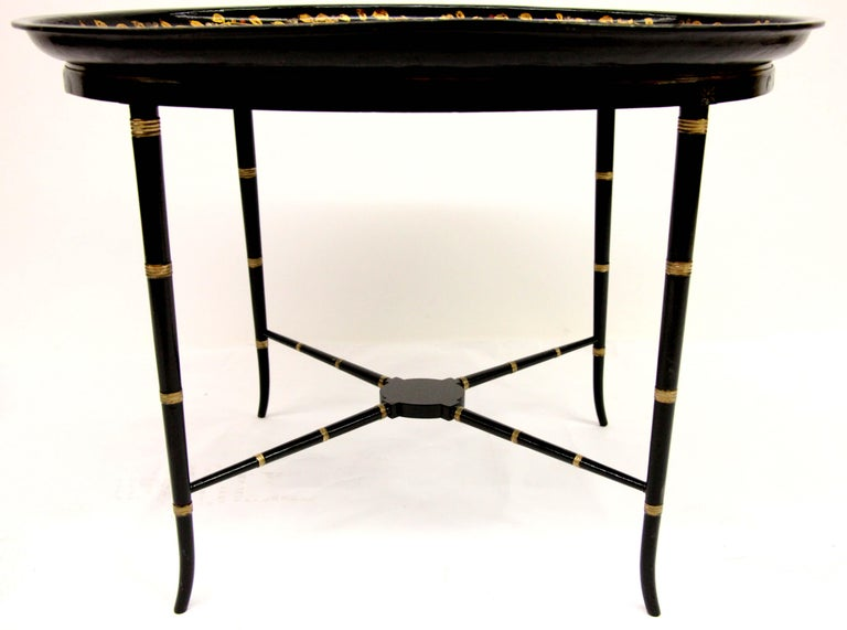 English Papier Mâché Black Lacquer Tray on Stand For Sale 1