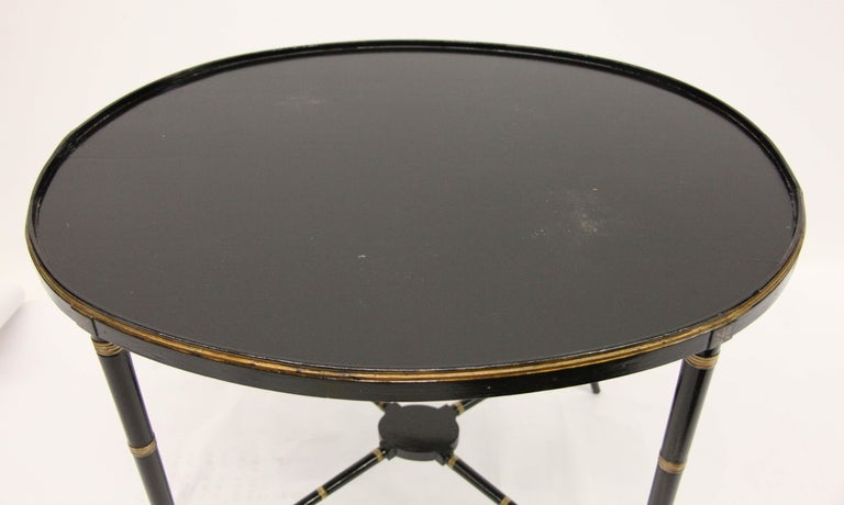 English Papier Mâché Black Lacquer Tray on Stand For Sale 2