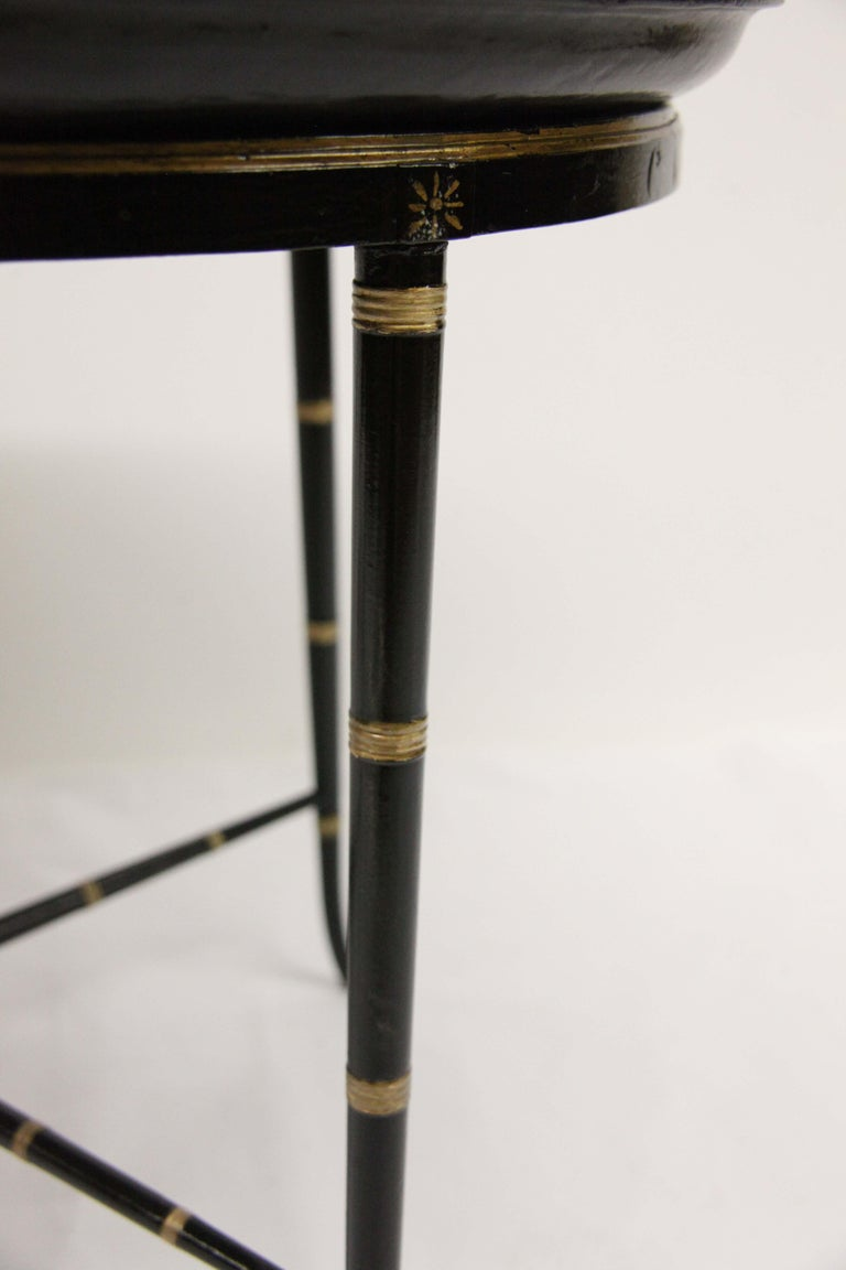 English Papier Mâché Black Lacquer Tray on Stand For Sale 4