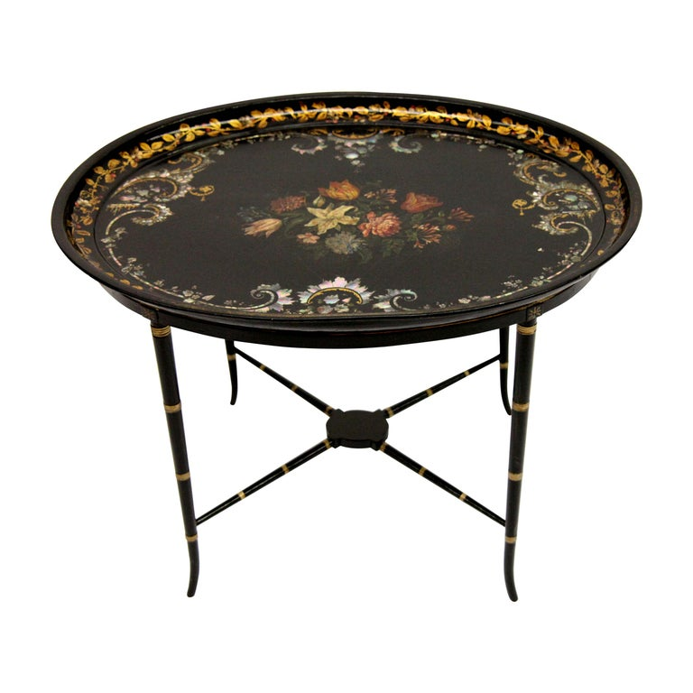 English Papier Mâché Black Lacquer Tray on Stand For Sale