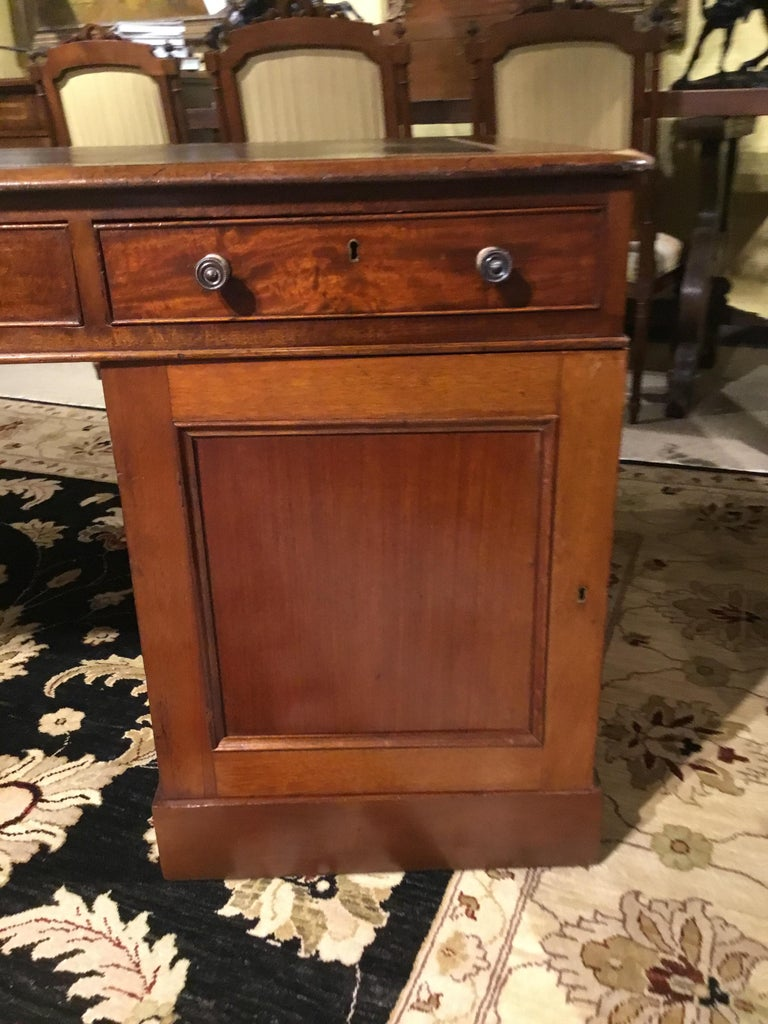 English Partners Desk circa 1860, Walnut with Black Leather Top For Sale 1