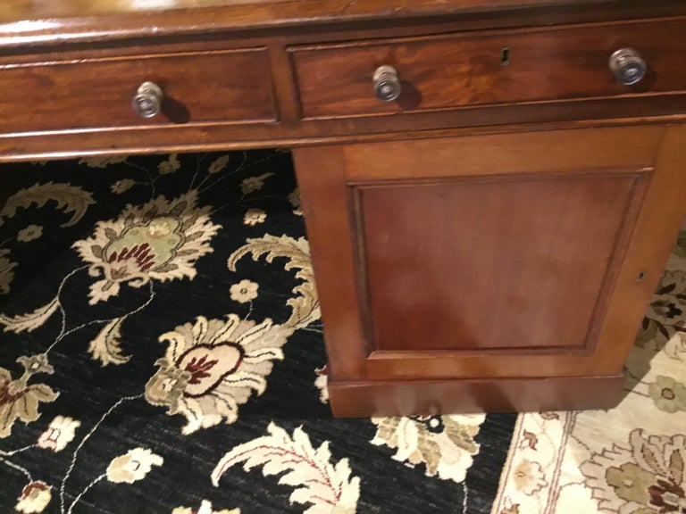 English Partners Desk circa 1860, Walnut with Black Leather Top For Sale 3