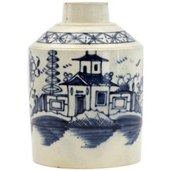 English Pearlware Blue & White Chinoiserie Decorated Pottery Teacaddy circa 1790