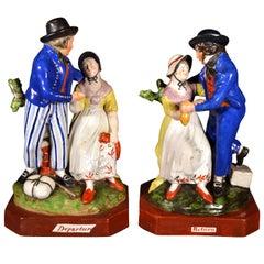 English Pearlware Figures of Sailor's Farewell and Return, circa 1820