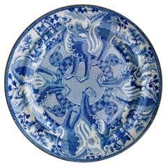 English Pearlware Plate, Blue & White Transfer Dragons, Snakes, Regency ca 1820