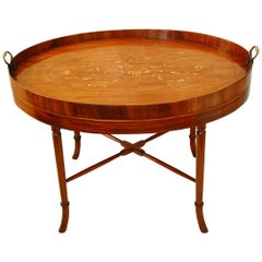 English Period Georgian Mahogany Oval Inlaid Butler's Tray on Custom Stand