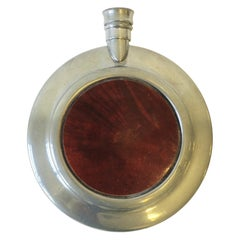 English Pewter and Wood Liquor or Spirits Flask