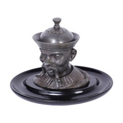 English Pewter Figural Inkwell