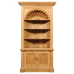 English Pine Bookcase with Shell Carving