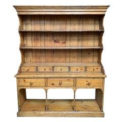 English Pine China Display Cabinet