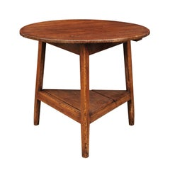 English Pine Cricket Table with Circular Top and Triangular Shelf, circa 1870