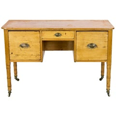 English Pine Faux Bamboo Side Table
