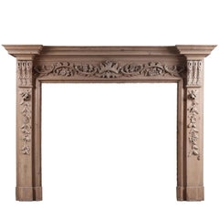 English Pine Fireplace with Carved Fruit and Foliage