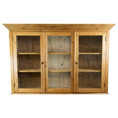 English Pine Hanging Cabinet with Glass Doors