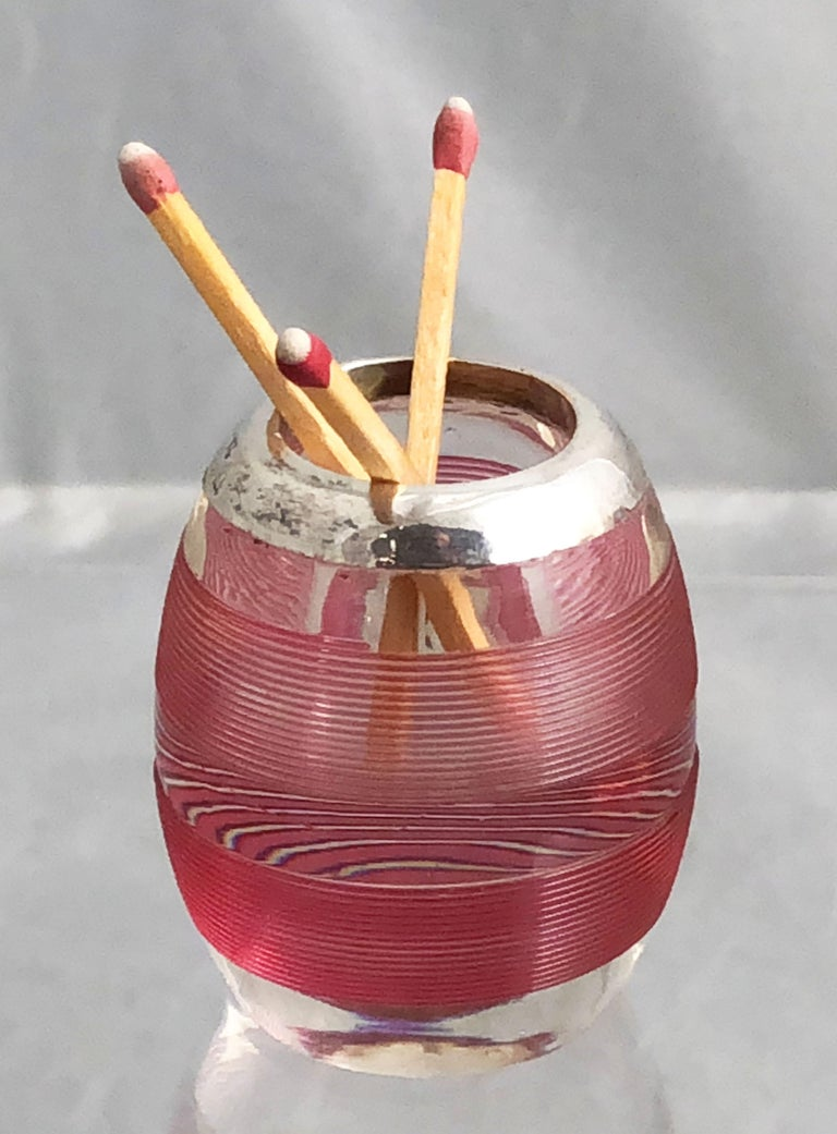English Pink Match Striker with Sterling Silver Rim 12