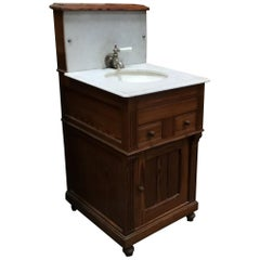 English Pitch Pine with Carrara Marble Top Sink and Water Tank from 20th Century