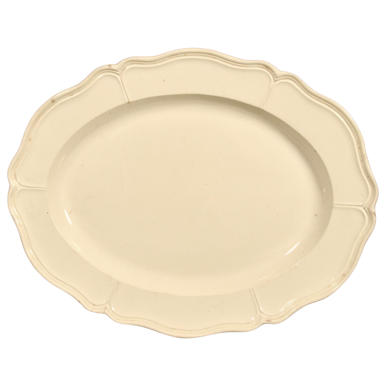 English Plain Creamware Large Oval Dish, circa 1770-1785