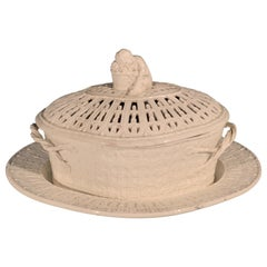 English Plain Creamware Openwork Covered Basket and Stand, Prob. Staffordshire