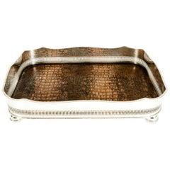 English Plated High Bordered Frame / Crocodile Interior Barware Tray