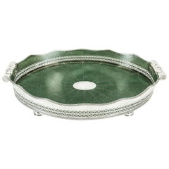 English Plated Shagreen interior High Border Gallery Tray