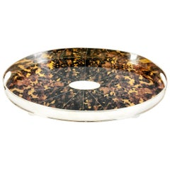 English Plated Tortoise Shell Interior Barware Footed Oval Tray