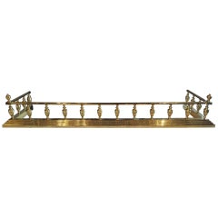English Polished Brass Fireplace Fender with Corner Finials, 19th Century