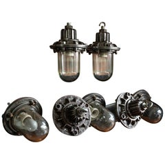 English Polished Cast Iron Factory 'Maxlume' Flameproof Pendants, circa 1950