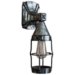 English Polished Cast Iron Outdoor Cage Lamp, circa 1920