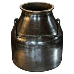 English Polished Iron & Brass Bound Milk Churn