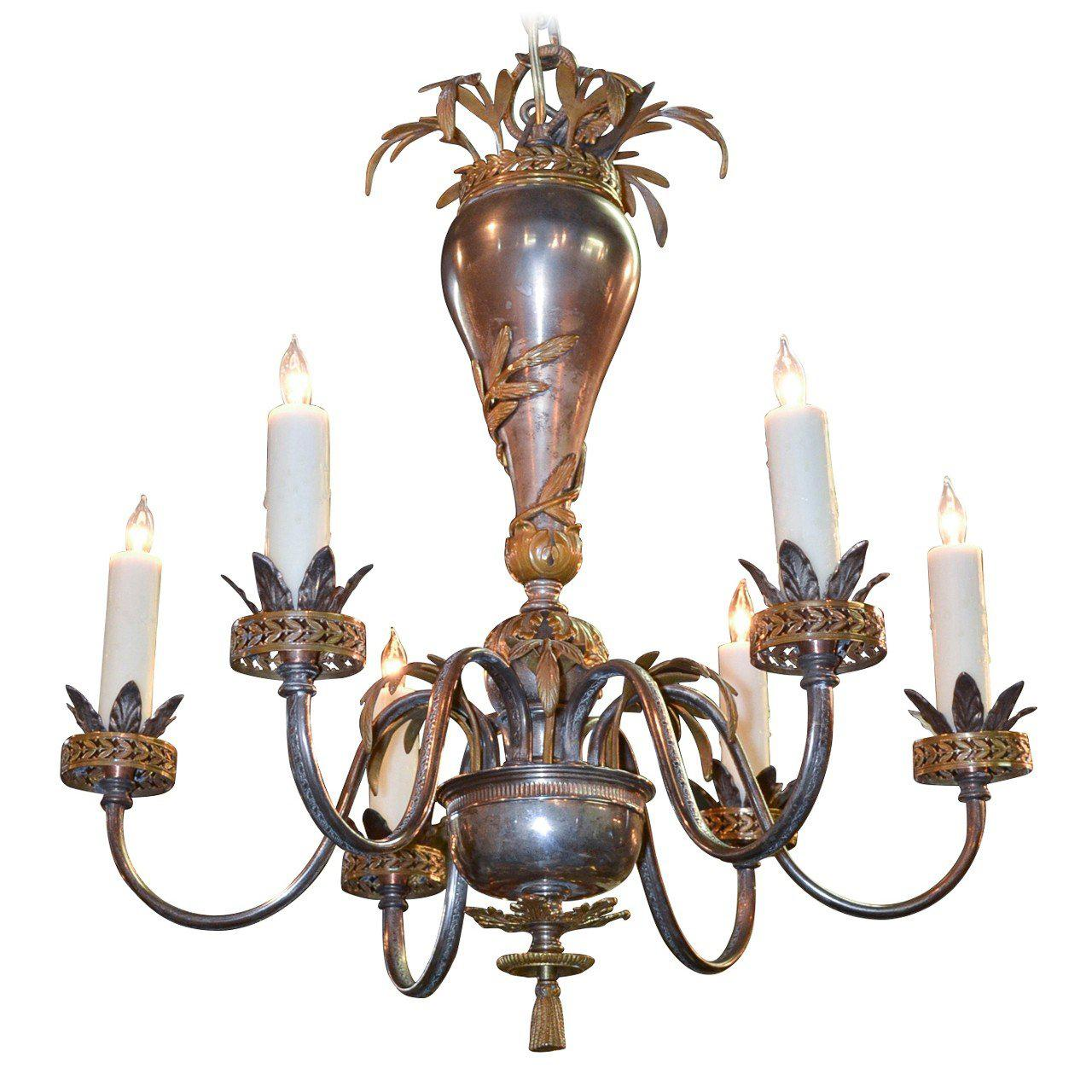 English Polished Steel and Brass Chandelier, circa 1910