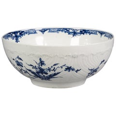 English Porcelain Blue and White Molded Bowl, Worcester, circa 1775