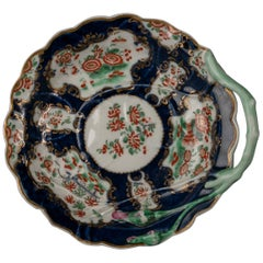 English Porcelain Blue-Scale Blind Earl Pattern Dish, Worcester, circa 1770