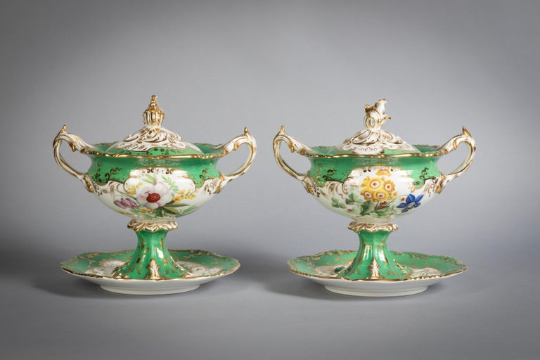 English Porcelain Botanical Dinner Service, Coalport, circa 1840 For Sale 11