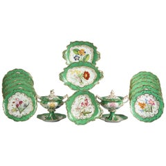 English Porcelain Botanical Dinner Service, Coalport, circa 1840