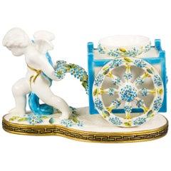 English Porcelain Cherub Inkwell, Moore, circa 1875