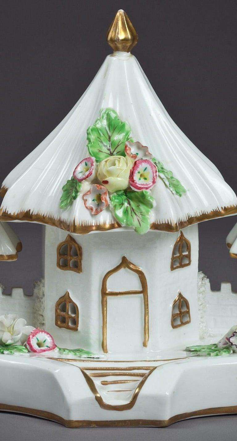 English Porcelain cottage pastille burner, circa 1820.