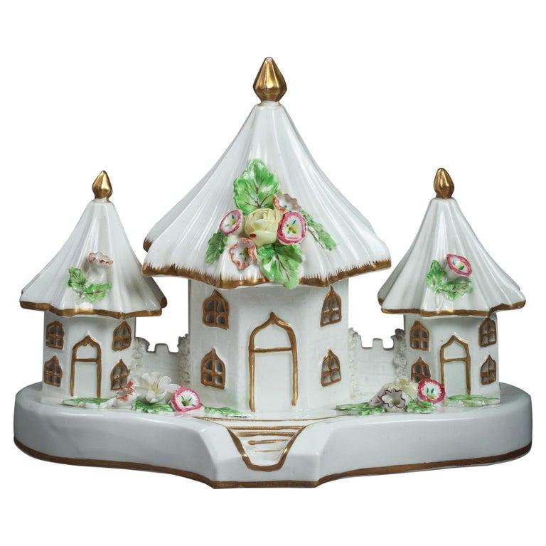 English Porcelain Cottage Pastille Burner, circa 1820 For Sale
