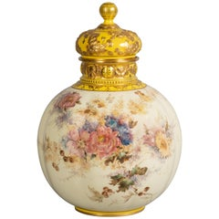 English Porcelain Covered Vase, Derby Crown, circa 1890