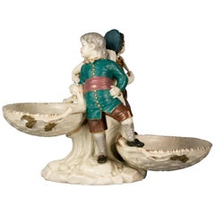 English Porcelain Figural Double Coupe Centerpiece, Royal Worcester, circa 1890