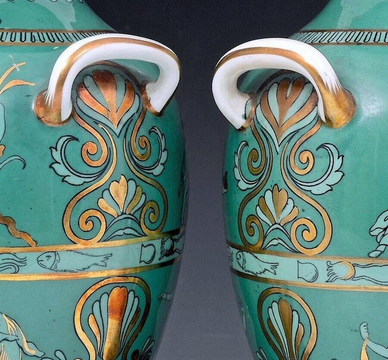 Regency English Porcelain Neoclassical Jade Green-Ground Vases, circa 1840-1860 For Sale