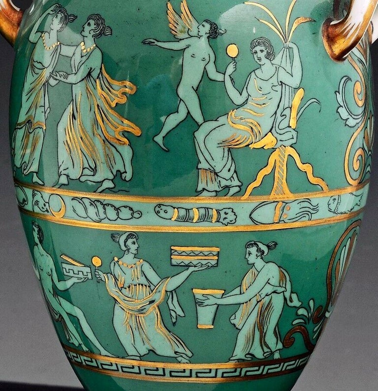 English Porcelain Neoclassical Jade Green-Ground Vases, circa 1840-1860 In Good Condition For Sale In Maryknoll, NY