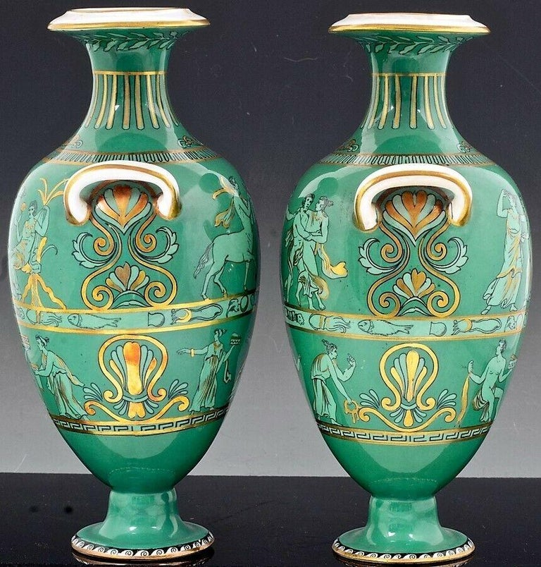English Porcelain Neoclassical Jade Green-Ground Vases, circa 1840-1860 For Sale 2