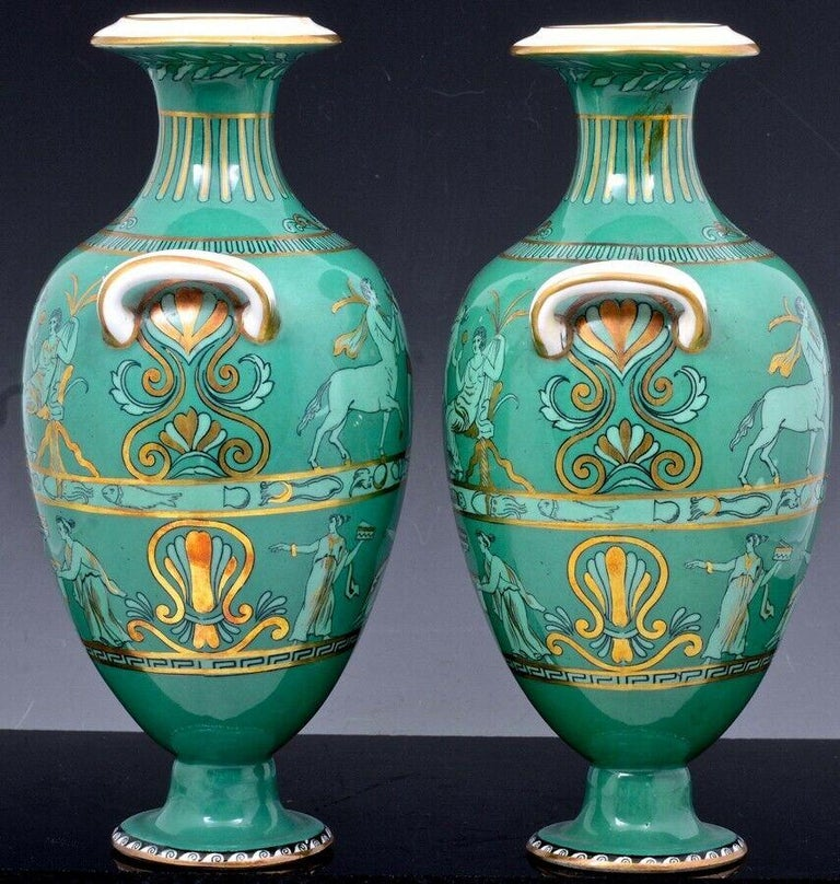 English Porcelain Neoclassical Jade Green-Ground Vases, circa 1840-1860 For Sale 3