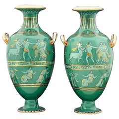 English Porcelain Neoclassical Jade Green-Ground Vases, circa 1840-1860