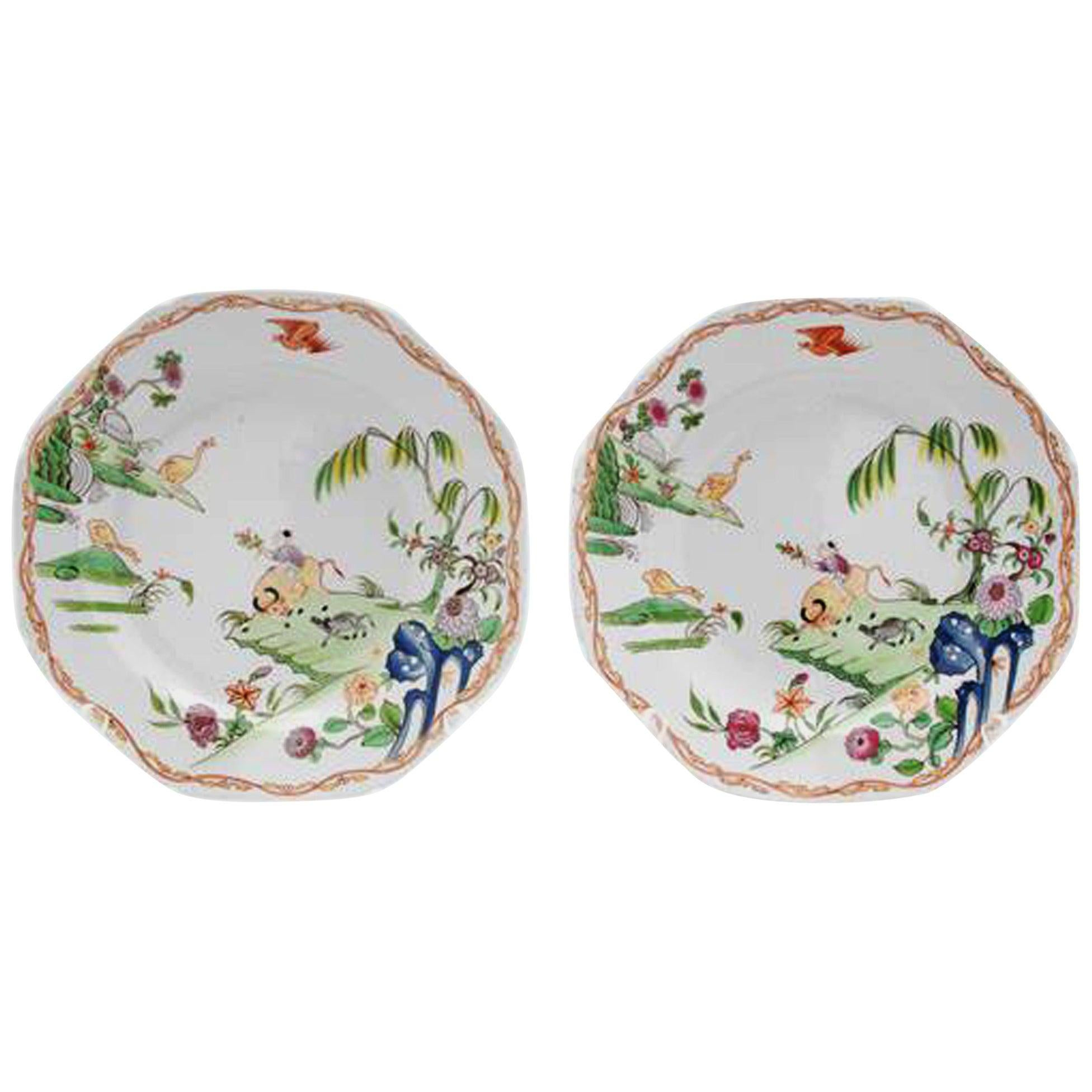 English Porcelain Pair of Chinoiserie Plates with the Boy and Buffalo Pattern