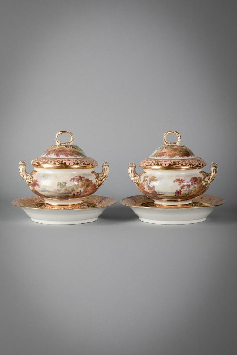 English Porcelain Peach-Ground Dessert Service, Derby, circa 1820 For Sale 7