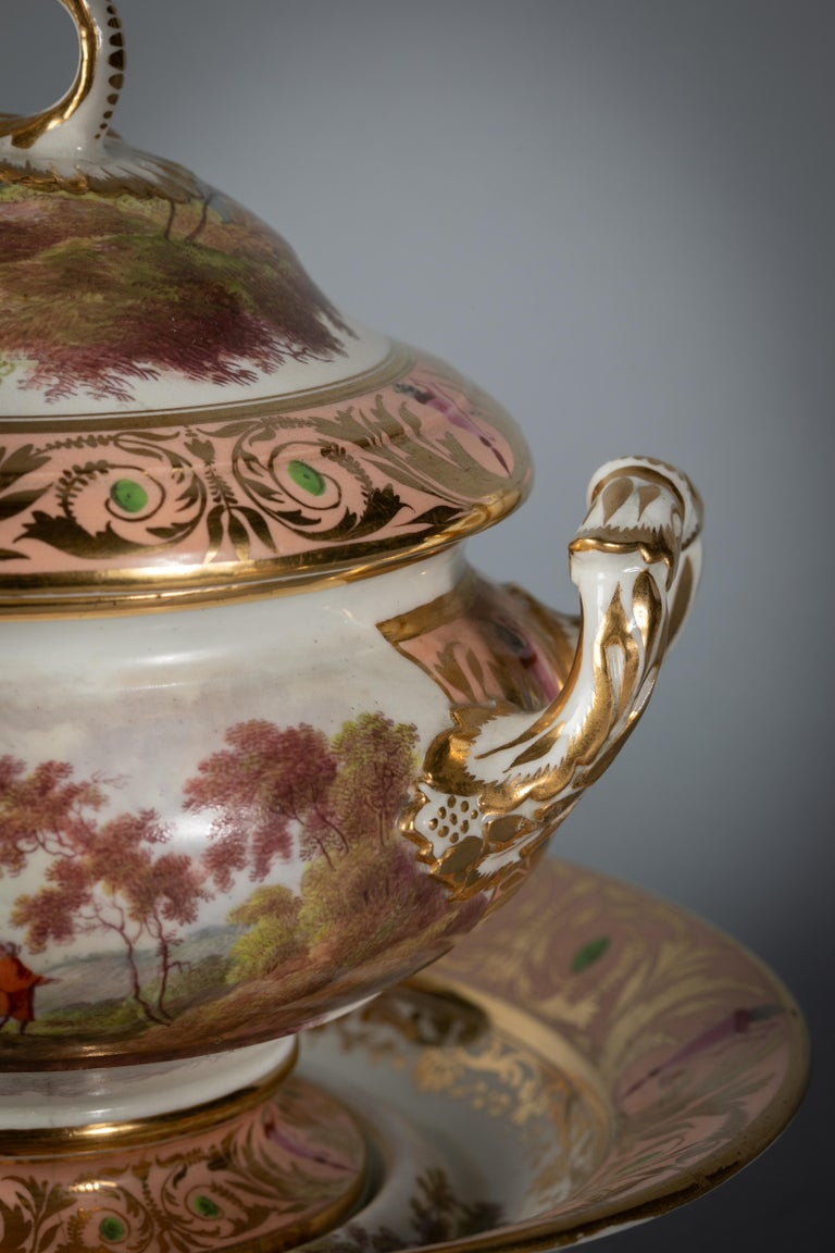 English Porcelain Peach-Ground Dessert Service, Derby, circa 1820 For Sale 11